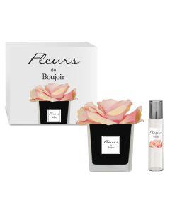 Rosa Rosa in vaso Nero + Profumo per Fiore 15 ml