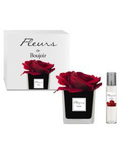 Rosa Rossa in vaso Nero + Profumo per Fiore 15 ml